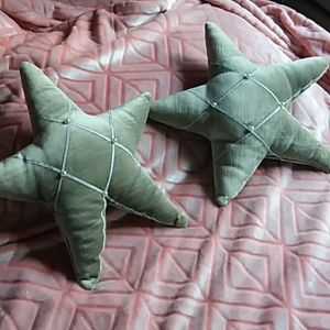 Decorative Star Shaped pillows with pearl accents